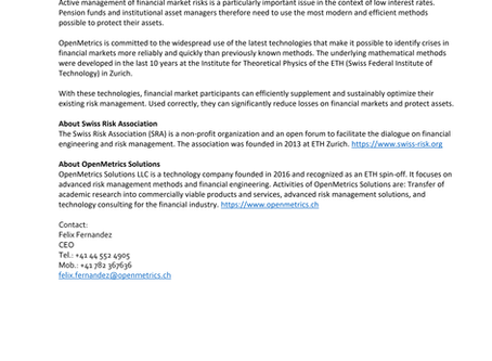 Press Release - OpenMetrics Solutions LLC: Official Sponsor of the Swiss Risk Association