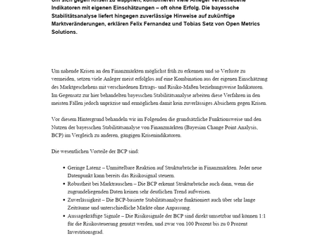 private banking magazin - Bayessche Stabilitätsanalyse