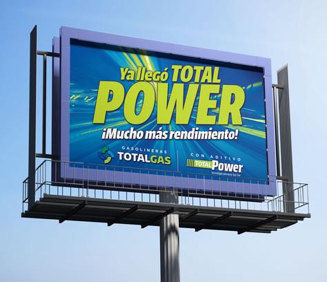 """Cartelera de la campaña """"El Power"""" / Gasolineras TotalGas"""