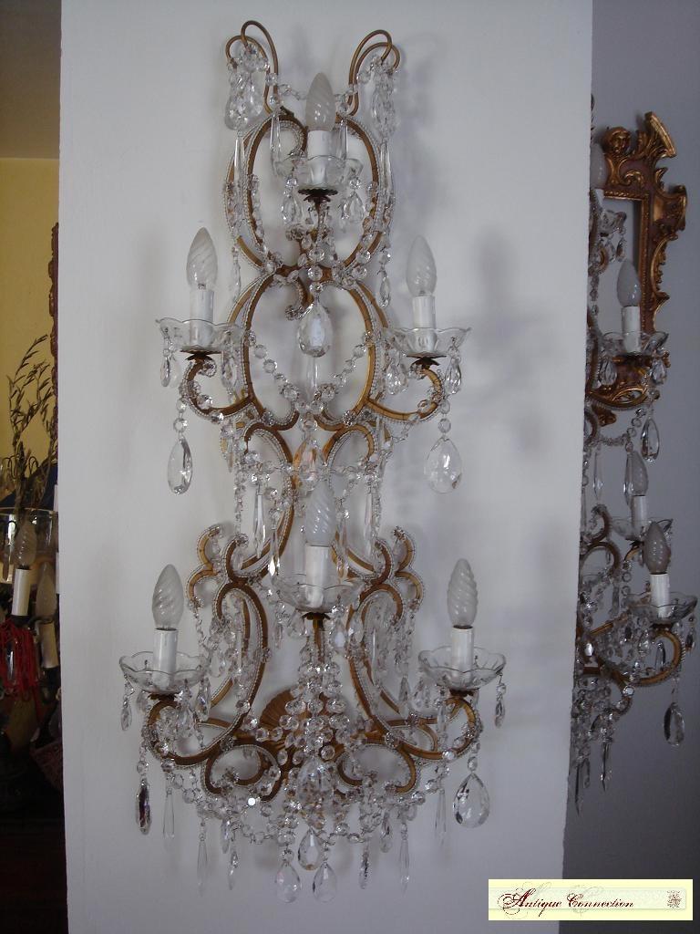 appliques murales à pampilles de cristal
