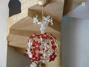 lustre cage à pampilles et cristaux