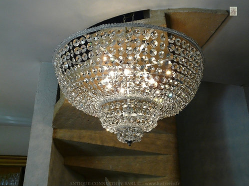 Plafonnier argenté en cristal de Bohême - Ø 80 cm.
