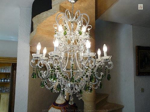 Lustre argenté en cristal avec 12 lumières - Ø 80