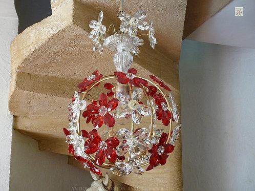 Lustre Cage avec Fleurs en cristal de Bohême.