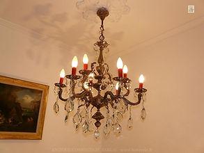 lustre ancien en cristal et bronze