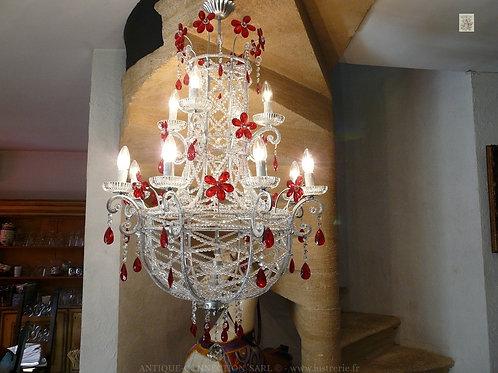 Lustre Montgolfière argenté en cristal de Bohême.