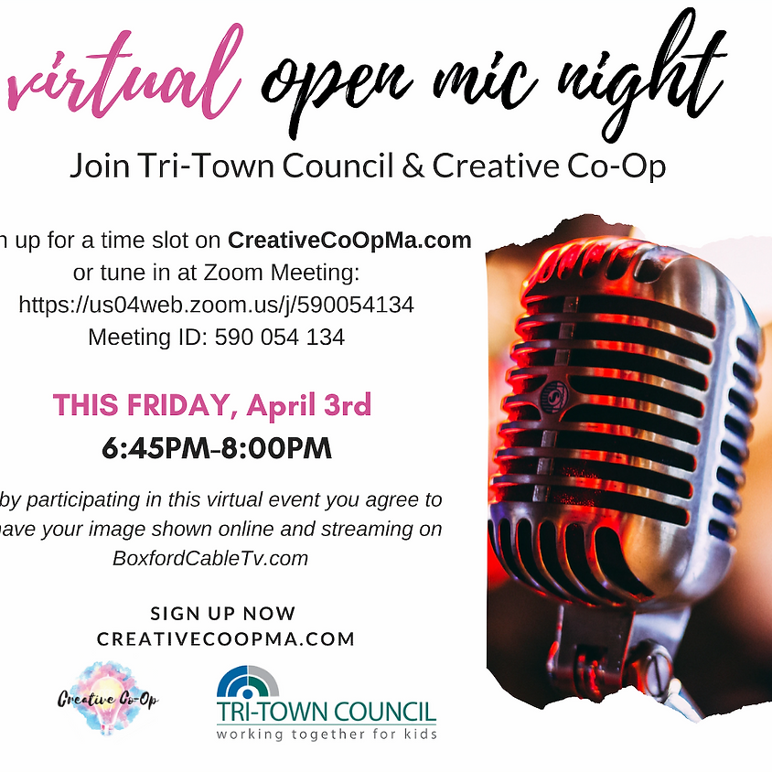VIRTUAL Open Mic Night with TTC and Creative Coop via ZOOM!
