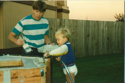 Colby and dad painting
