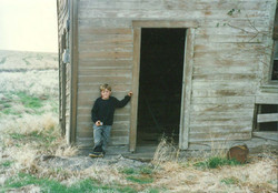 Colby with Old building