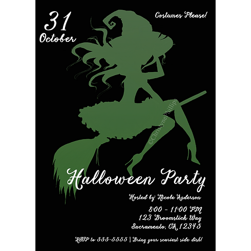 Green Halloween Whimsical Witch Invitation Costume Party Flyer