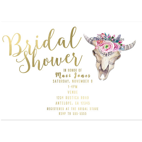 Rustic Boho Chic Cow Skull and Flowers Bridal Shower Invitations
