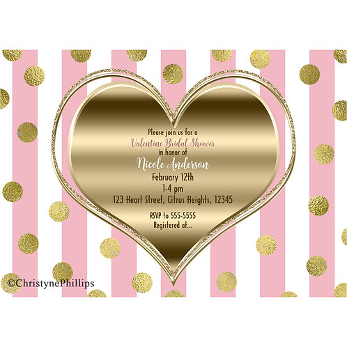 Gold Heart Pink and White Stripes Modern Chic Valentine Party Invitations