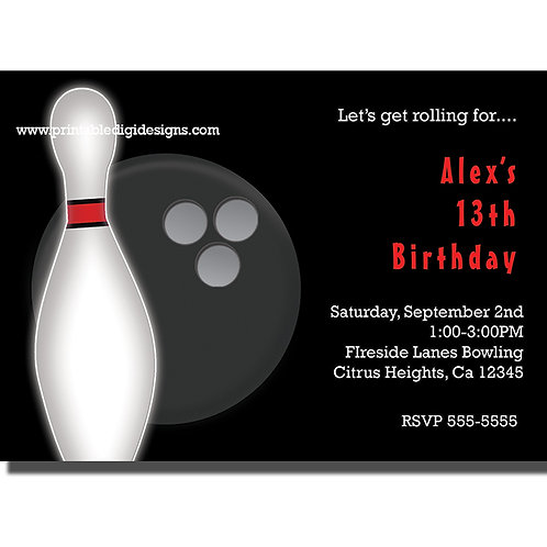 Black and White Pin and Bowling Ball Bowl Birthday Party Invitations