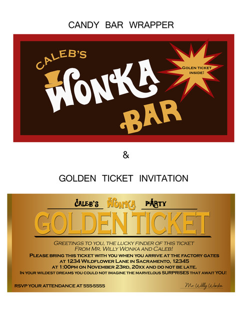 Chocolate factory candy bar wrapper and golden ticket birthday party this set is adorable for a wonka chocolate party filmwisefo