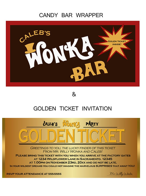 Chocolate Factory Candy Bar Wrapper and Golden Ticket Birthday Party Invitations