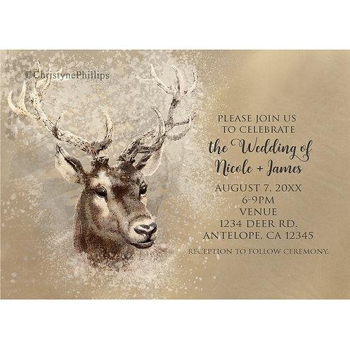 Rustic Deer Head Brown Winter Wedding Invitations