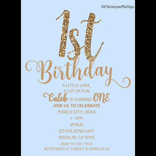 1st Birthday Boys Blue & Gold Glitter Modern Baby Shower Invitation