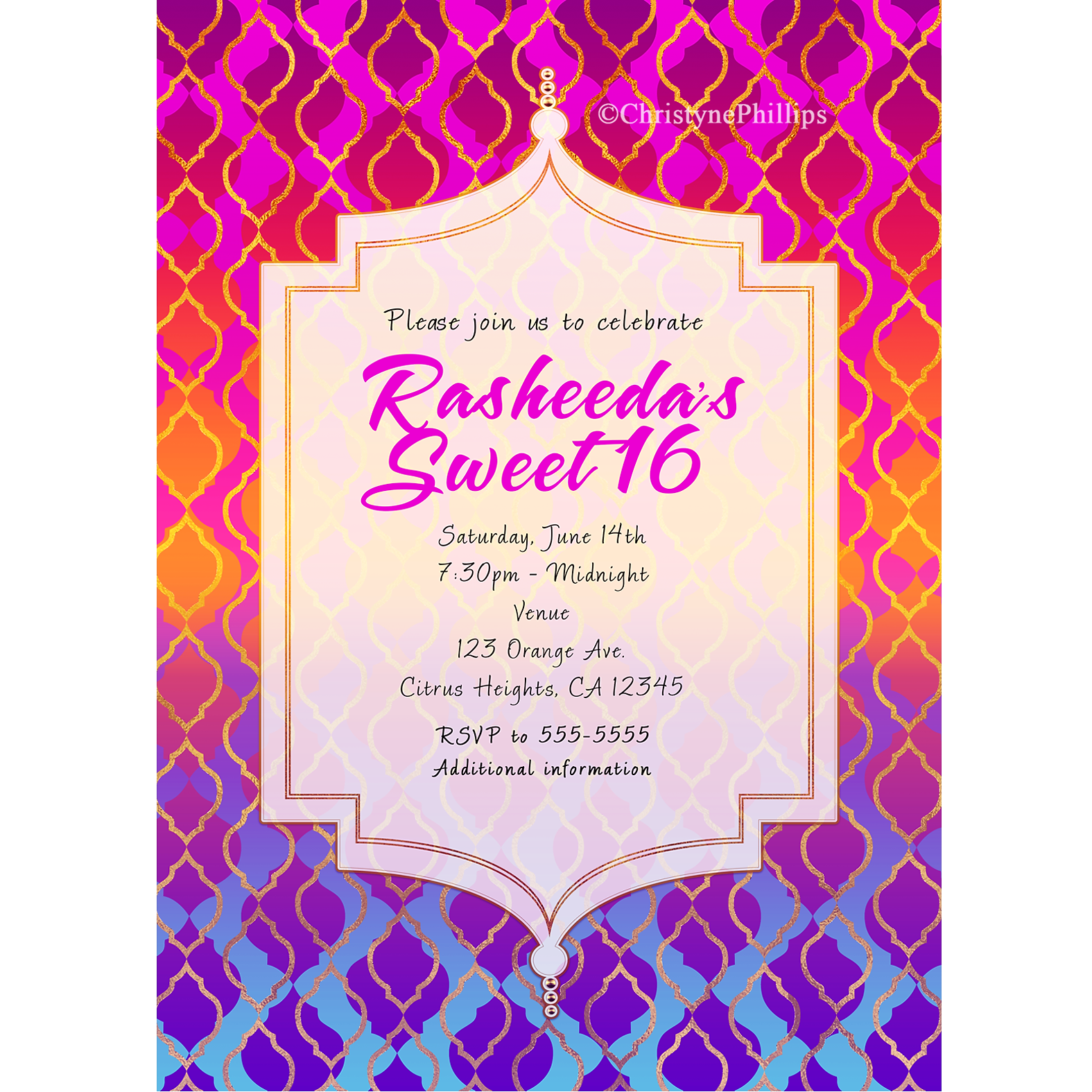 Girls Sweet 16 Birthday Party Invitations