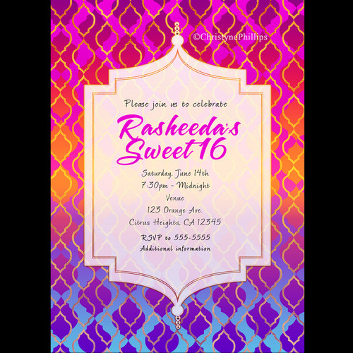 Prom party digital printable invitations – Moroccan Party Invitations
