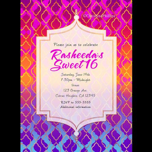 Bright Colorful Moroccan Arabian Themed Party Invitations