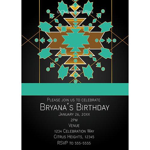 Turquoise Gold & Black Southwestern Theme Birthday Party Invitations
