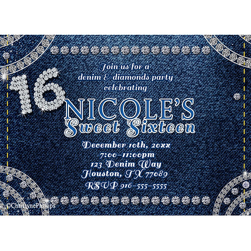 Denim and Diamonds Corner Bling Sweet 16 Birthday Party Invitations