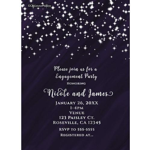 Purple Glam Sparkle Stars Elegant Birthday Party Invitations
