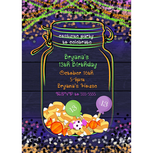 Halloween Candy Glow in the Dark Mason Jar Party Invitations