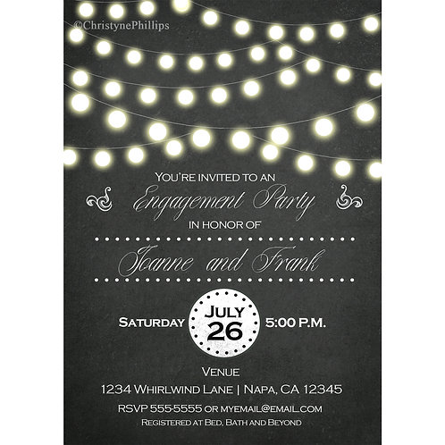 Chalkboard & String Lights Engagement Party Invitations
