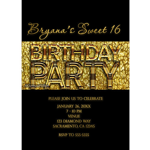 Gold and Black Cheetah Leopard Animal Print Exotic Birthday Party Invitations