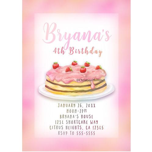Girls Strawberry Shortcake Birthday Party Invitations