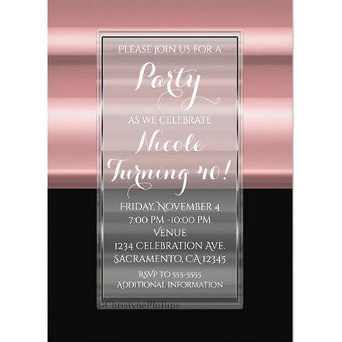 Pink & Black Chic Elegant Birthday Party Invitations