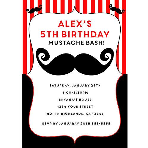 Mustache Red and White Retro Barber Birthday Party Invitations