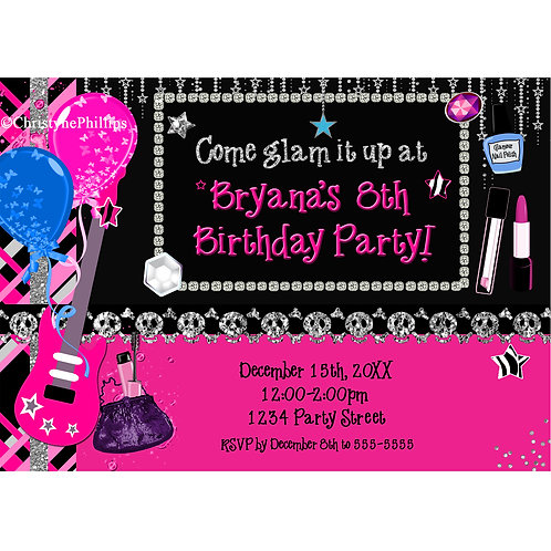 Glam it up Girls Makeup and Rock Star Birthday Party Invitations