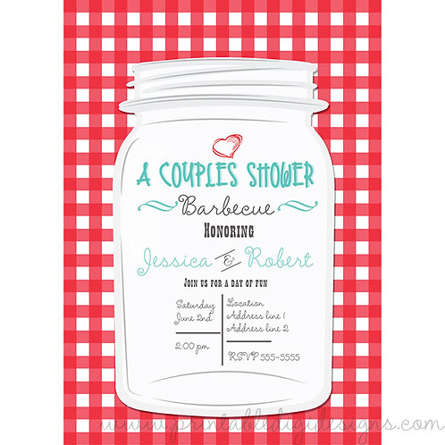 Country Rustic Mason Jar and Red Checkered Gingham Invitations