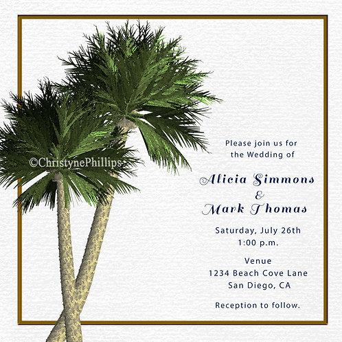 Two Palm Trees Elegant Beach Wedding Invitations