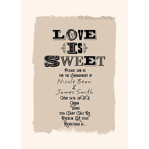 Love is Sweet Vintage Wedding Engagement Bridal Shower Invitations