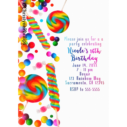 Rainbow Candy Candyland Watercolor Birthday Party Invitations