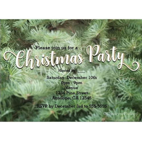 Green Christmas Tree Pine Rustic Holiday Party Invitation