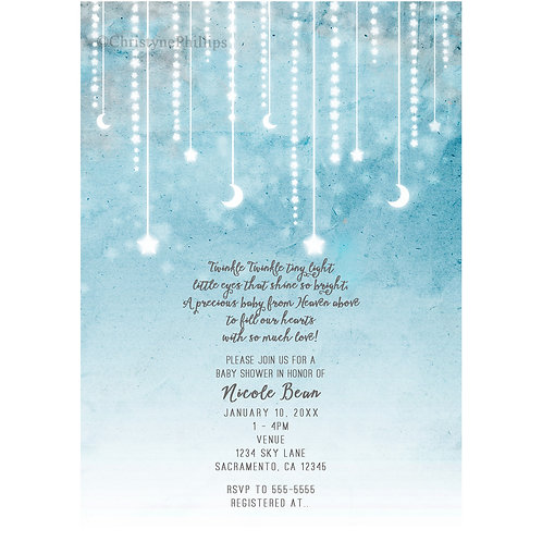 Moon & Stars Celestial Light Glows Baby Shower Invitation