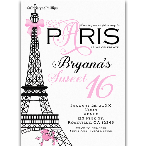 Paris Pink & Black Elegant Chic Birthday Party Invitations