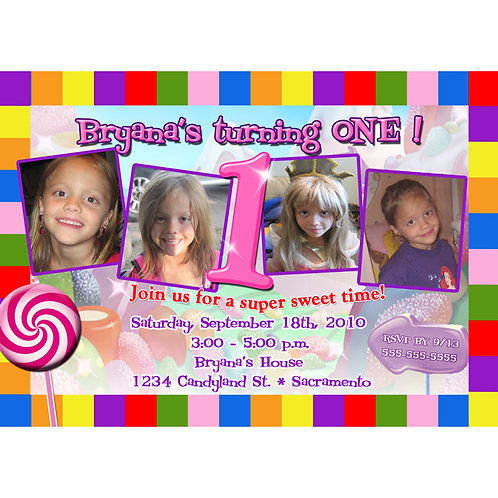 Candy Land Sweet 4 Photos Birthday Party Invitations