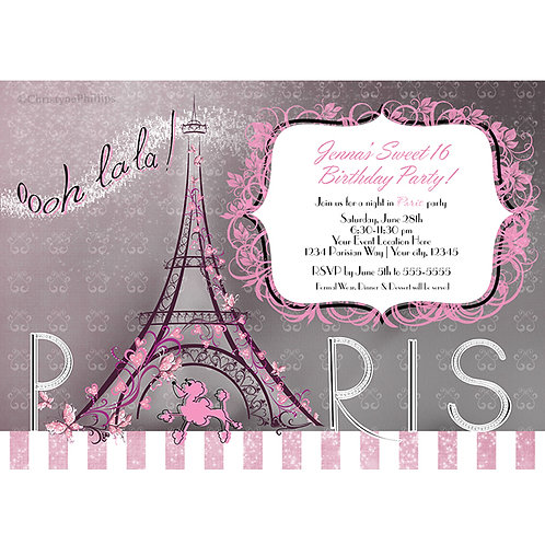 Paris Grey & Pink Eiffel Tower Sparkle and Poodle Birthday Party Invitations