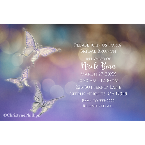 Spring Pastel Butterflies Purple Chic Party Invitations