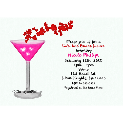 Pink Valentine Cocktail Watercolor Chic Party Invitations