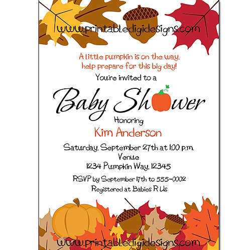 Autumn Fall Pumpkin and Leaves Baby Shower Invitations