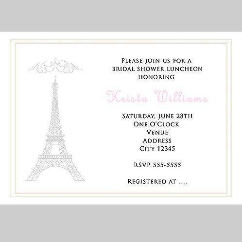 White Paris Chic Eiffel Tower Bridal Shower Invitations