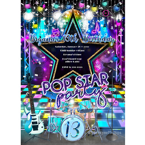Pop Star Stage and Lights Birthday Dance Party Invitations