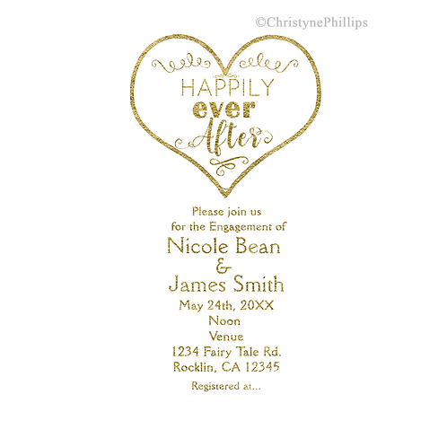 Happily Ever After Gold Fairy Tale Storybook Wedding Engagement Invitations