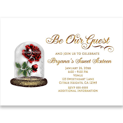 Beauty & The Beast Enchanted Red Rose White Gold Party Invitations